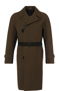 Однобортное хлопковое пальто с поясом Lanvin