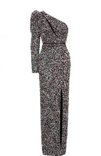 Платье-макси с высоким разрезом и пайетками Elie Saab