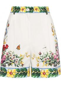 Хлопковые мини-шорты с ярким принтом Dolce & Gabbana