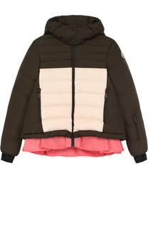 Пуховая куртка с контрастной оборкой и капюшоном Moncler Enfant