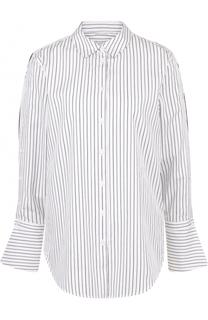 Хлопковая блуза свободного кроя в полоску Equipment
