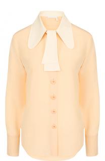 Приталенная шелковая блуза с контрастным воротником Chloé