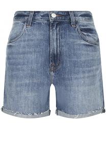 Укороченные джинсовые мини-шорты с потертостями J Brand