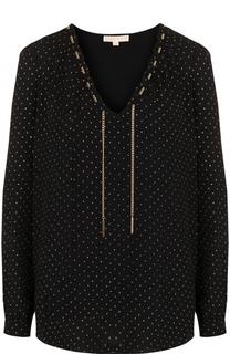 Блуза с V-образным вырезом и декоративной отделкой MICHAEL Michael Kors