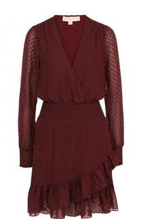 Приталенное мини-платье с V-образным вырезом MICHAEL Michael Kors
