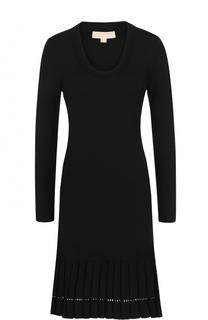 Приталенное платье-миди с длинным рукавом MICHAEL Michael Kors