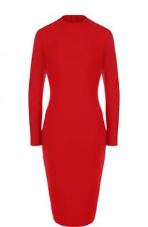 Приталенное шерстяное платье-миди с длинным рукавом Ralph Lauren