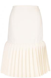 Шерстяная юбка-миди с плиссированной оборкой Jacquemus