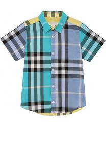 Хлопковая рубашка с принтом и накладным карманом Burberry