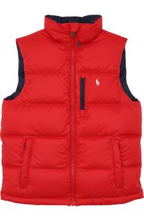 Пуховой жилет с логотипом бренда Polo Ralph Lauren