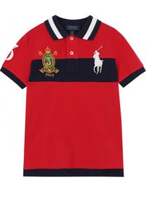 Хлопковое поло с контрастной отделкой и вышивкой Polo Ralph Lauren