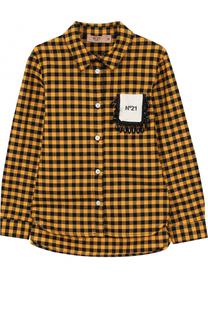 Хлопковая блуза в клетку с кристаллами No. 21