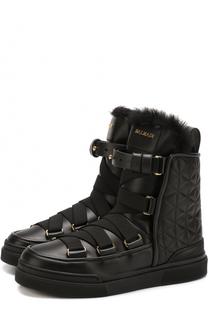 Кожаные стеганые ботинки на шнуровке Balmain