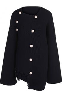 Шерстяной пуловер фактурной вязки Joseph