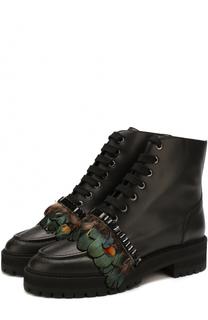 Кожаные ботинки с отделкой пером Rochas