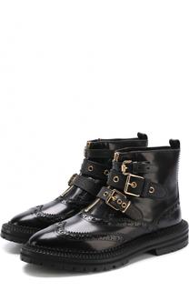 Кожаные ботинки с ремешками и брогированием Burberry