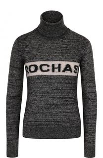 Вязаный свитер с высоким воротником и логотипом бренда Rochas