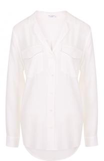 Шелковая блуза с накладными карманами и V-образным вырезом Equipment