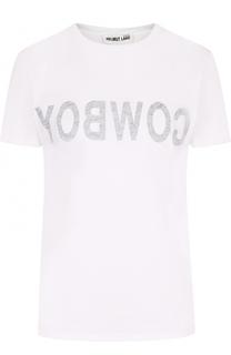 Хлопковая футболка с круглым вырезом и надписью Helmut Lang