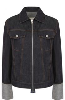 Джинсовая куртка на молнии с отложным воротником Helmut Lang