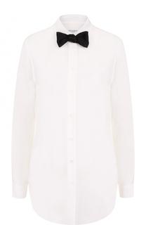 Шелковая блуза прямого кроя с контрастным бантом Equipment