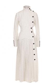 Приталенное шелковое платье-миди с воротником-стойкой Alessandra Rich