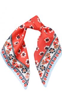 Шелковый платок с цветочным принтом Tory Burch