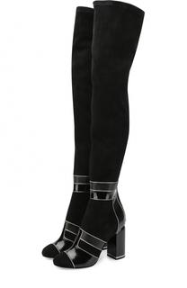 Замшевые ботфорты с лаковой отделкой на устойчивом каблуке Pierre Hardy