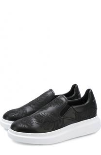 Кожаные слипоны с вышивкой на толстой подошве Alexander McQueen