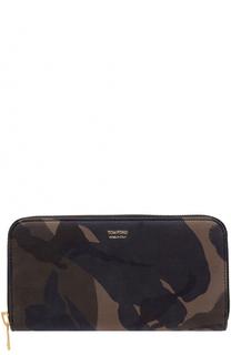 Кожаное портмоне на молнии с отделениями для кредитных карт Tom Ford