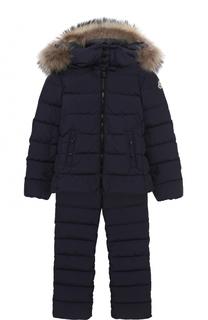 Пуховый комплект из куртки с капюшоном и комбинезоном Moncler