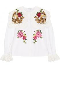 Хлопковая блуза с кружевной отделкой и вышивкой Dolce & Gabbana