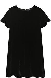 Платье прямого кроя с фигурной отделкой Armani Junior