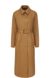 Кожаное пальто с поясом и отложным воротником BOSS