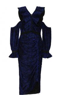 Приталенное платье-миди с открытыми плечами и оборками self-portrait