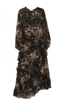 Шелковое платье-миди асимметричного кроя с принтом Zimmermann