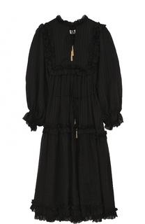 Однотонное платье-миди с завышенной талией и укороченным рукавом Zimmermann
