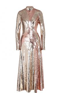 Приталенное платье-миди с открытой спиной и пайетками Emilio Pucci