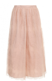 Однотонная кружевная юбка-миди St. John