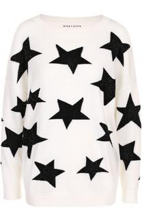Шерстяной пуловер с круглым вырезом и принтом в виде звезд Alice + Olivia