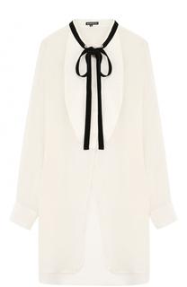 Удлиненная блуза свободного кроя из смеси шерсти и льна Ann Demeulemeester