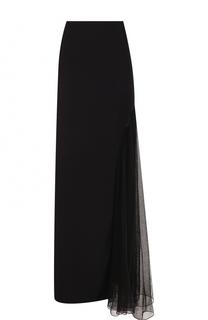 Однотонная юбка-макси с прозрачной вставкой Lanvin