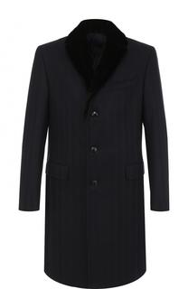 Однобортное шерстяное пальто с меховым воротником Pal Zileri