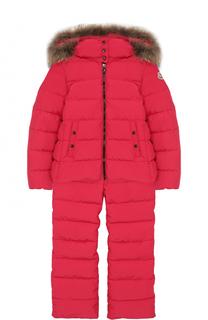 Пуховой комплект из куртки с капюшоном и комбинезона Moncler