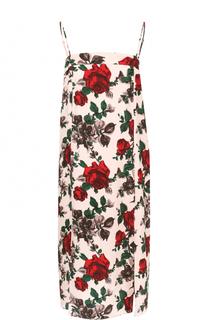 Шелковое платье-комбинация с цветочным принтом Equipment