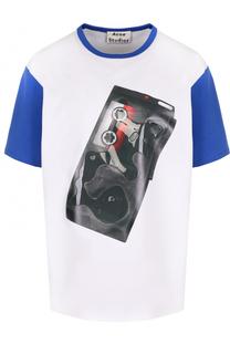 Хлопковая футболка прямого кроя с принтом Acne Studios