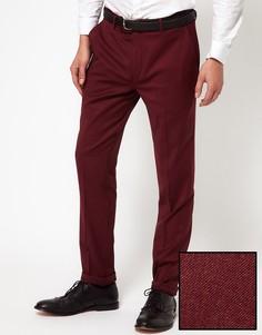 Зауженные брюки из шерсти с полиэстером ASOS - Красный