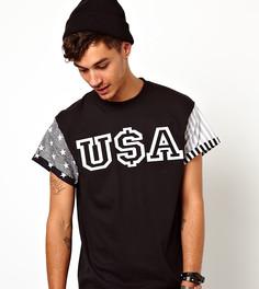 Футболка с рукавами с принтом флага США Reclaimed Vintage - Черный