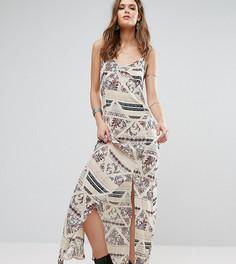 Платье макси с принтом и кружевной накладкой Glamorous Tall - Мульти