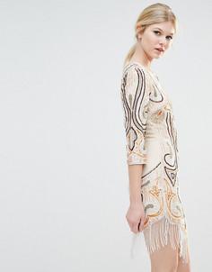 Платье мини с рукавами 1/2 и глубоким вырезом Maya Petite - Мульти